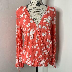 LOVESTITCH | Coral Wrap Surplice Tie Sleeve Blouse
